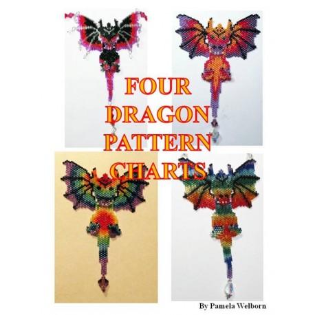 Four Alternate Beaded Dragon Pattern Charts