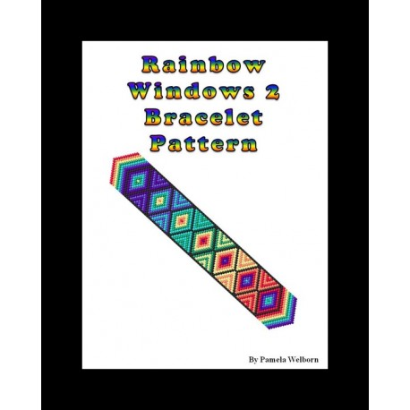 Rainbow and Cool Color Windows Bracelet Bead Pattern Chart