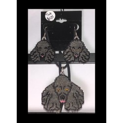 Hand Beaded Silver Poodle Earrings and Pendant set