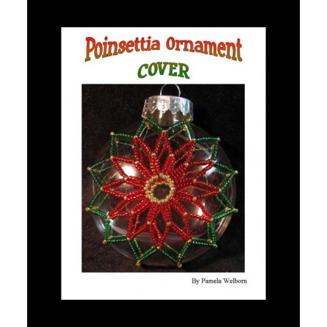 Poinsettia beaded Disc Christmas Ornament Cover Pattern
