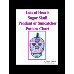 Lots of Hearts DOTD Sugar Skull Pendant Bead Pattern