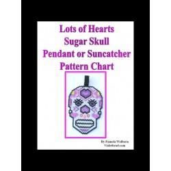 Lots of Hearts DOTD Sugar Skull Pendant Bead Pattern
