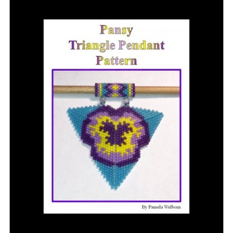 Pansy Triangle Pendant Pattern with word chart