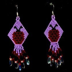 Tiny Lady Bug Hand Beaded Earrings