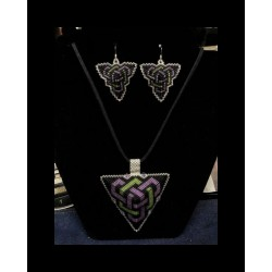 Double Celtic Knot work Triangle Pendant & Earrings CUSTOM ORDER