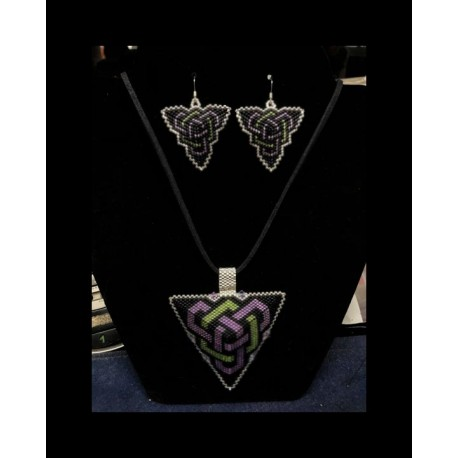 Double Celtic Knot work Triangle Pendant & Earrings in Purple and Lime Green