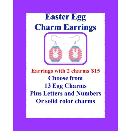 Hand Beaded Easter Egg Charm Earrings WITH TWO CHARMS ONLY