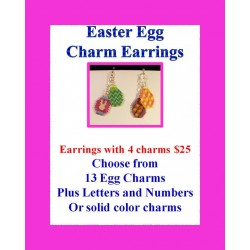 Hand Beaded Easter Egg Charm Earrings WITH FOUR CHARMS ONLY