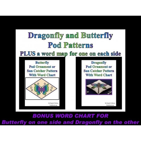 Butterfly & Dragonfly 3D Peyote Pod ornament or Suncatcher patterns with BONUS
