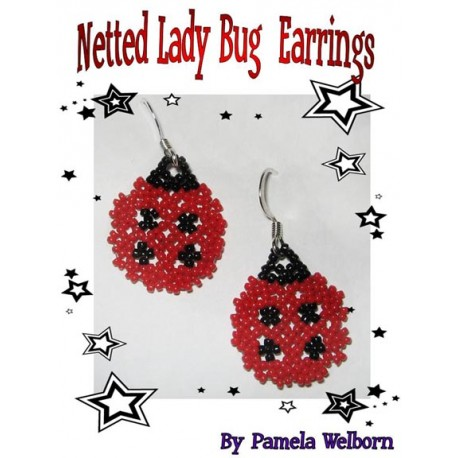 Bead Netted Lady Bug Earrings