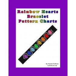 Rainbow Hearts Bracelet Bead Pattern Chart