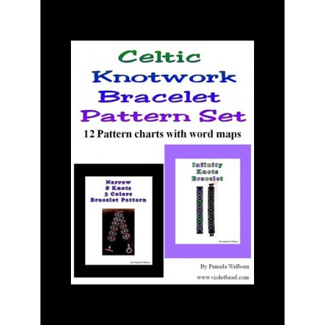 12 Celtic Knotwork Bracelet Pattern charts with word maps