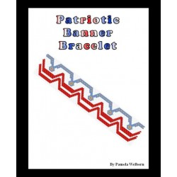 Patriotic Banner Bracelet Bead Pattern Chart