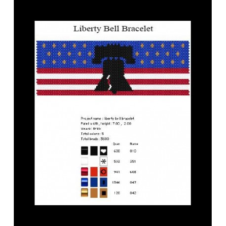 Patriotic Liberty Bell Bracelet Pattern